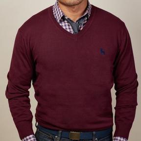 Blade + Blue Berry Wine V-Neck Sweater