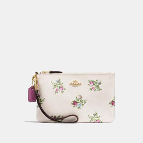 COACH Coach Small Wristlet With Cross Stitch Floral Print - LIGHT GOLD/CHALK CROSS STITCH FLORAL - STYLE