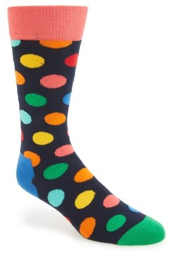 Happy Socks Men's Polka Dot Cotton Blend Socks