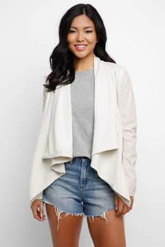 Blank Ivory Vegan & Knit Drape Jacket