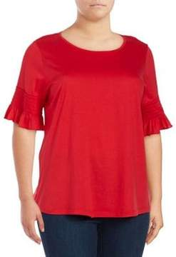 Context Plus Smocked Bell-Sleeve Top