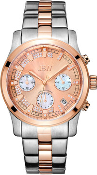 JBW Alessandra Rose Gold-tone Diamond Chronograph Dial Two-tone Steel Bracelet Ladies Watch