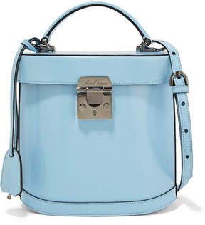 Mark Cross Benchley Patent-leather Shoulder Bag - Light blue