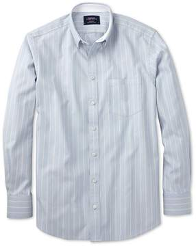 Charles Tyrwhitt Extra Slim Fit Sky Blue Stripe Washed Oxford Cotton Casual Shirt Single Cuff Size Large