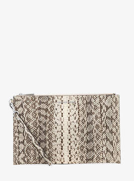 Michael Kors Jet Set Extra-Large Snakeskin Clutch - NATURAL - STYLE