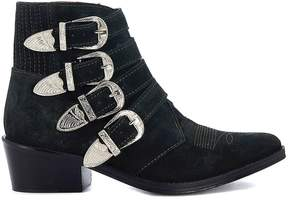 Toga Pulla Dark Green Suede Texan With Buckles