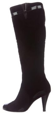 Chanel Velvet Cap-Toe Boots