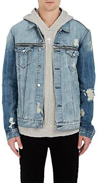 RtA Men's Distressed Zip-Yoke Denim Jacket