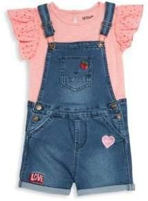 Hudson Baby Girl's Two-Piece Top and Denim Shortalls Set