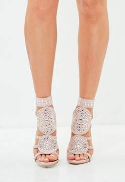 Missguided Nude Diamante Embellished Heeled Sandals