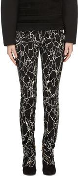 Balmain Black and White Printed Jeans