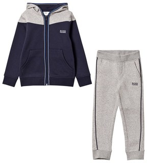 BOSS Grey and Navy Branded Tracksuit