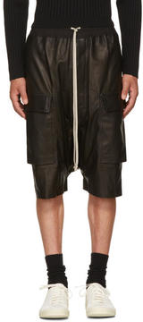 Rick Owens Black Leather Pods Cargo Shorts