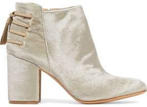 Rachel Zoe Lace-Up Leather-Trimmed Velvet Ankle Boots