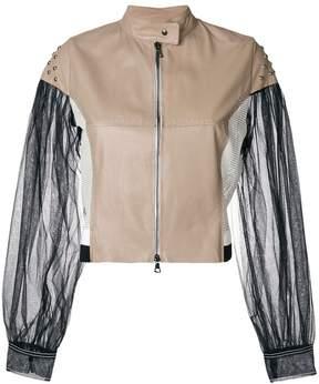 Aviu colour-block biker jacket