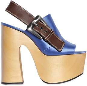 Rochas 160mm Satin & Leather Platform Sandals