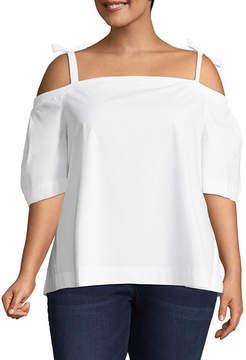BELLE + SKY Short Sleeve Straight Neck Woven Blouse-Plus