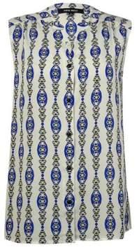 Nine West Women's Printed Button Down Blouse (6, Lapis/Lemon Multi)