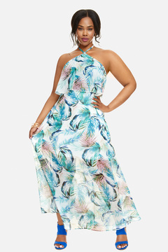Fashion to Figure Carlie Halter Tiered Maxi Dress