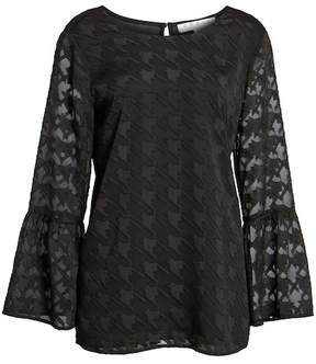 Chaus Bell Sleeve Houndstooth Blouse