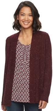 Croft & Barrow Women's Ribbed Sleeve Cardigan