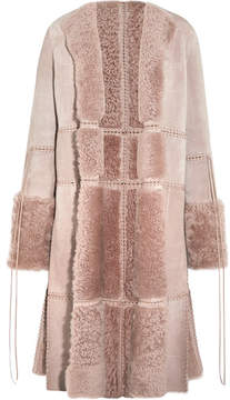 Alexander McQueen Reversible Whipstitched Leather-trimmed Shearling Coat - Antique rose