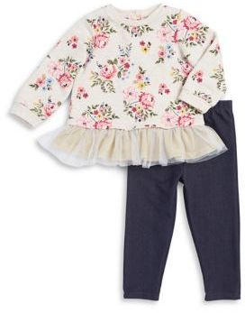 Little Me Baby Girls Two-Piece Floral Cotton Top and Denim Leggings Set
