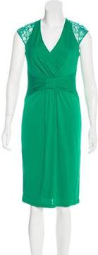 David Meister Lace-Accented Midi Dress