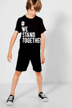 boohoo Charity Boys We Stand Togther Tee & Short Set