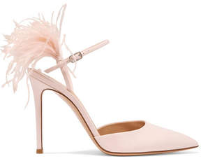 Gianvito Rossi 100 Feather-trimmed Patent-leather Pumps - Baby pink