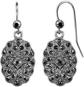1928 Black Medallion Nickel Free Drop Earrings