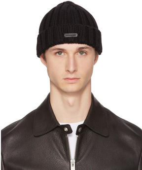 DSQUARED2 Black Knit Logo Beanie