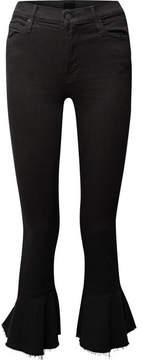 Mother The Cha Cha Ruffled High-rise Slim-leg Jeans - Black