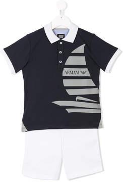 Emporio Armani Kids sailboat print polo shirt