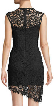 Bebe Asymmetric Lace Illusion Dress