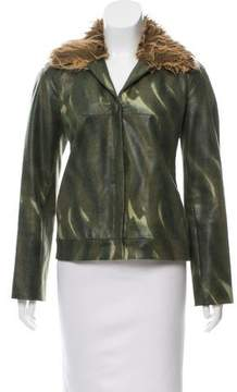 Vivienne Tam Faux Fur-Accented Embossed Jacket