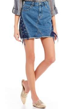 Chelsea & Violet C&V Denim Side Lace Up Skirt