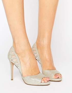 Faith Carbo Metallic Cut Out Heeled Shoes