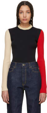 Calvin Klein Black and Ecru Colorblock Sweater