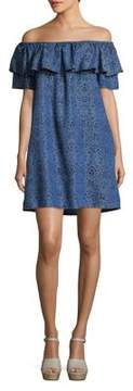 Context Off-The-Shoulder Abstract-Print Sheath Dress
