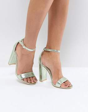 Glamorous Metallic Green Barely There Block Heeled Sandals