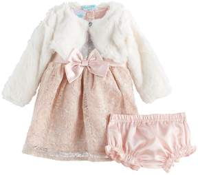 Nannette Baby Girls 3-pc. Faux-Fur Shrug & Lace Dress