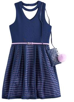 Knitworks Girls 7-16 & Belted Burnout Skater Dress with Crossbody Purse