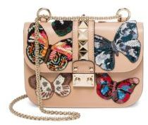 VALENTINO GARAVANI Small Lock Beaded Butterfly Leather Shoulder Bag