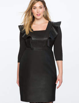 ELOQUII Ruffle Faux Leather Dress