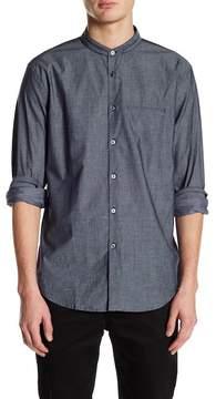John Varvatos Collection Slim Fit Collarless Mesh Design Dress Shirt