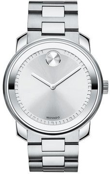Movado Bold 42.5 Stainless Steel Watch, Silver
