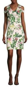 Donna Ricco Floral-Print Cold-Shoulder Dress