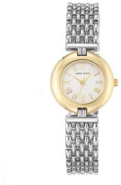 Anne Klein 2-Tone Round White Dial Bold Bezel Bracelet Watch