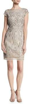 Aidan Mattox Beaded Art Deco Sheath Cocktail Dress